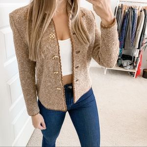 St. John Knit Button Front Jacket Brown Gold